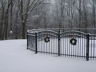 Fence with christmas wreaths