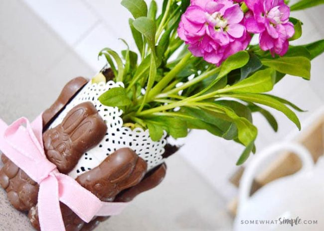 Chocolate Bunny centerpiece with flowers in the middle