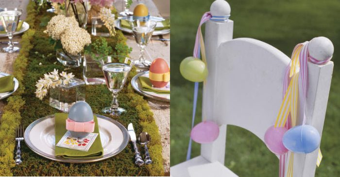 Easter table decor ideas using moss and wooden eggs.