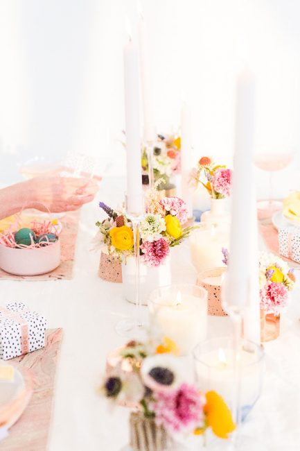 Easter or Spring Table Setting ideas with white background base and bright floral accents