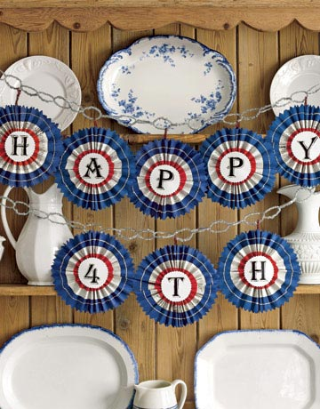 Handmade Paper Fourth of July Pinwheel garland