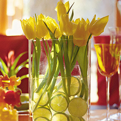 Tulip and Lime Centerpiece
