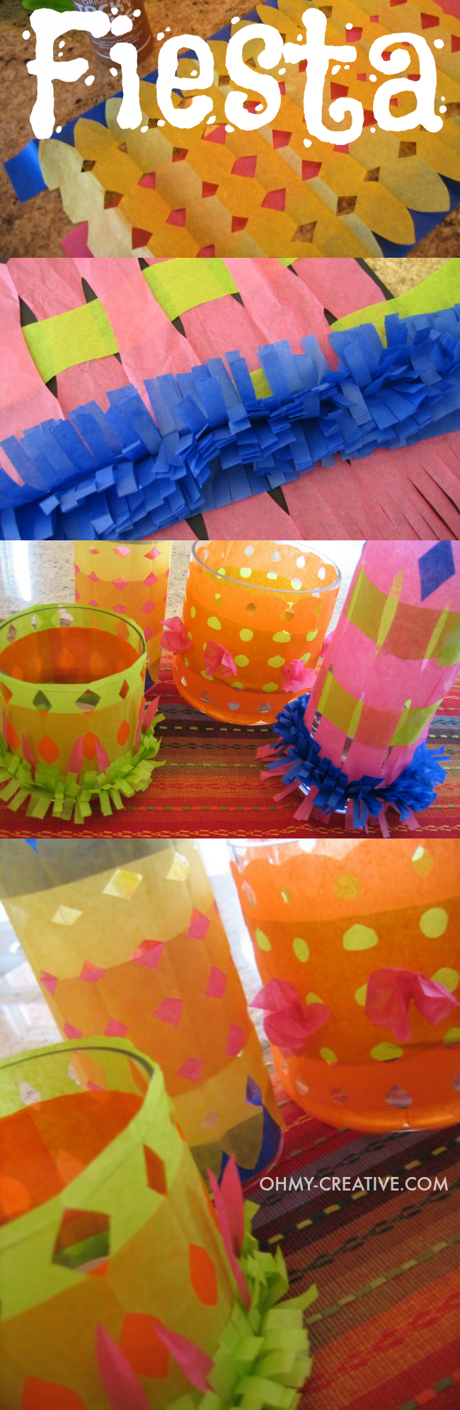 These Fiesta candle holders make a great centerpiece for Cinco de Mayo or a Mexican Fiesta. The are cheap to make using tissue paper and something fun for the kids to make  |  OHMY-CREATIVE.COM