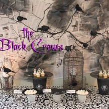 Halloween black crow dessert table