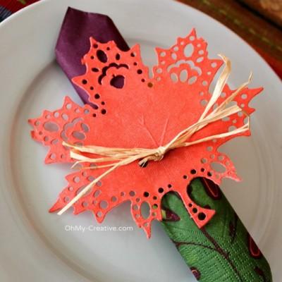 Fall Doily Leaf Napkin Ring