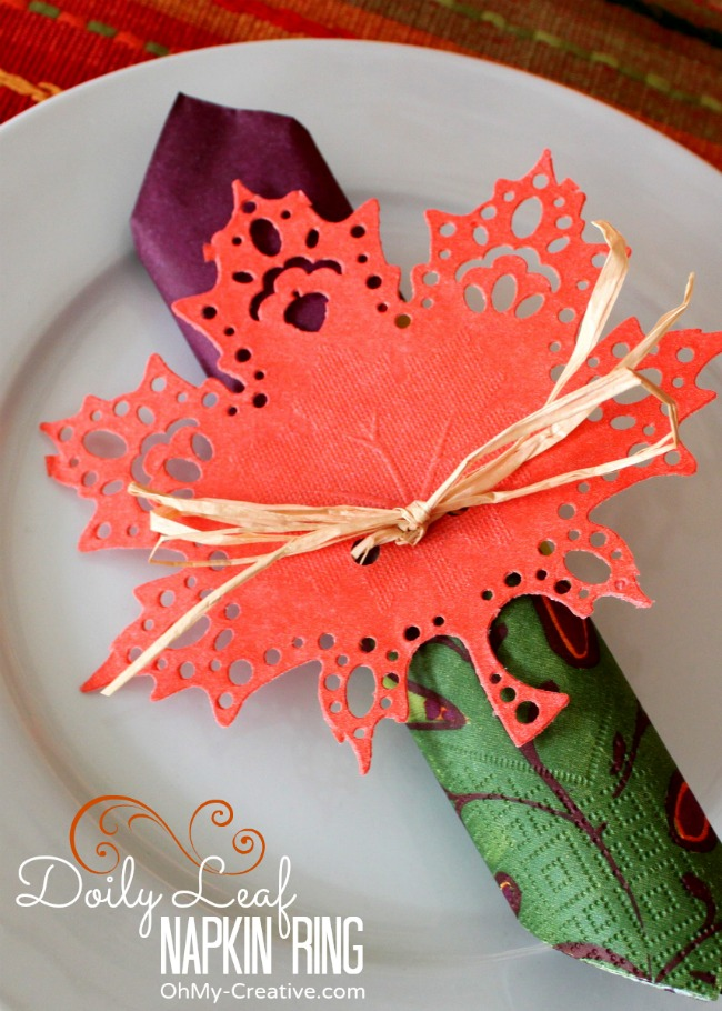 Fall Doily Leaf Napkin Ring made from dollar store doilies - OhMy-Creative.com