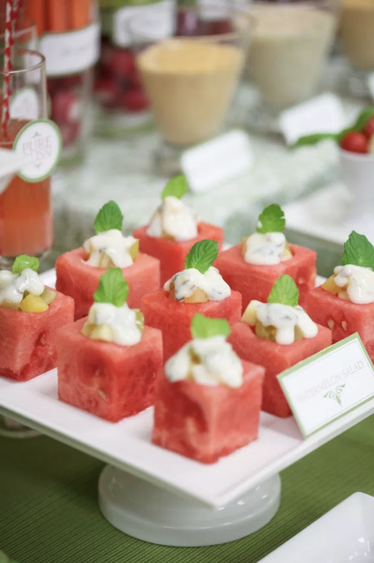 Party Fruit and Veggie Table | Party Fruit and Veggie Bar | Appetizer Table | Watermelon Salad