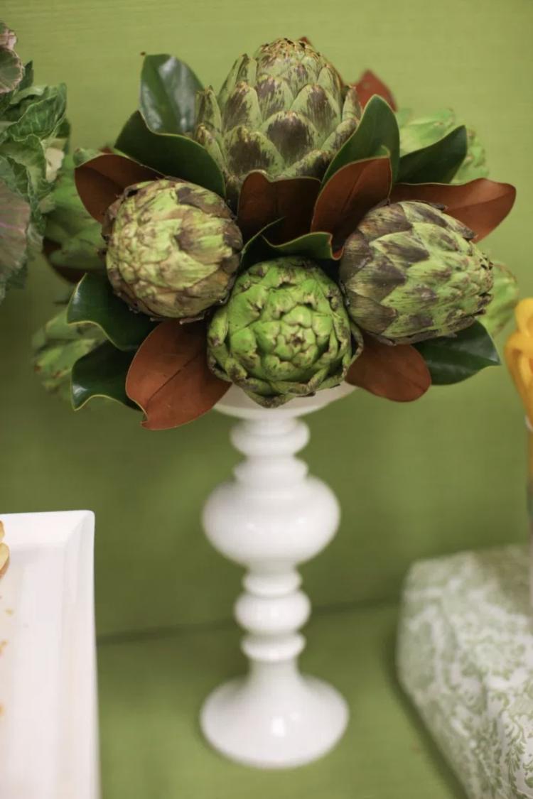 Party Fruit and Veggie Table | Party Fruit and Veggie Bar | Appetizer Table | artichoke centerpiece