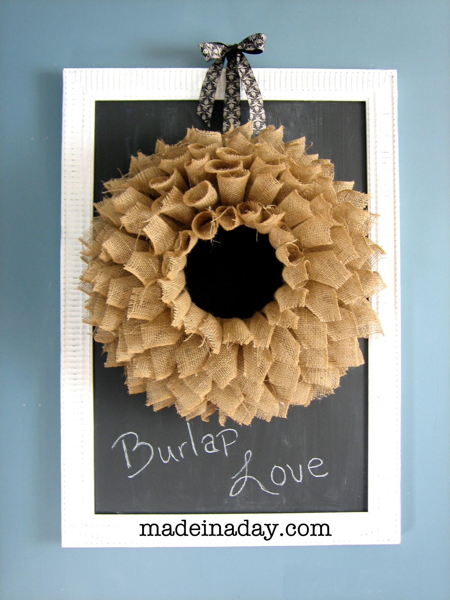 "Burlap ""Book Page"" Wreath"