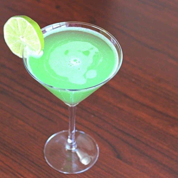 St. Patrick's Day Emerald Rain Cocktail drink in martini glass