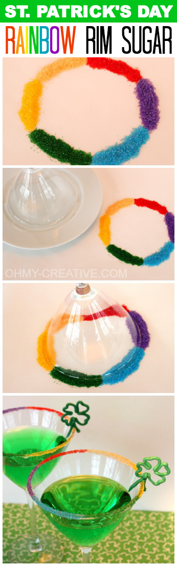 St. Patrick's Day Rainbow Rim Sugar  |  OHMY-CREATIVE.COM #StPatricksDay #Cocktails #RimSugar