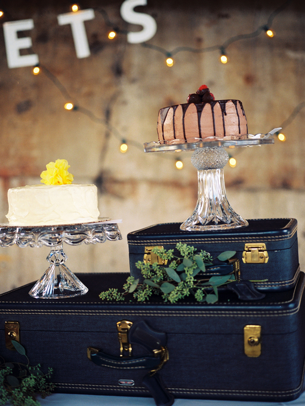 Indie Industrial Wedding Vintage Suitcase Dessert Table