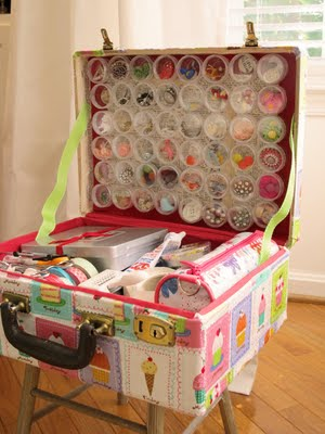 Craft Ideas Vintage Suitcase on Vintage Suitcase Restyled Into A Craft Supply Travel Case     Inspire