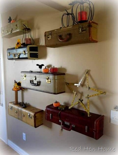Vintage Suitcase Shelves included in these 20 DIY Vintage Suitcase Projects and Repurposed Suitcases. Create unique home decor using repurposed old suitcases! | OHMY-CREATIVE.COM