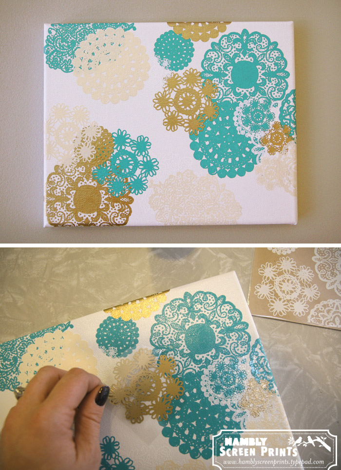 Doily Rub-on Canvas - Doily Crafts