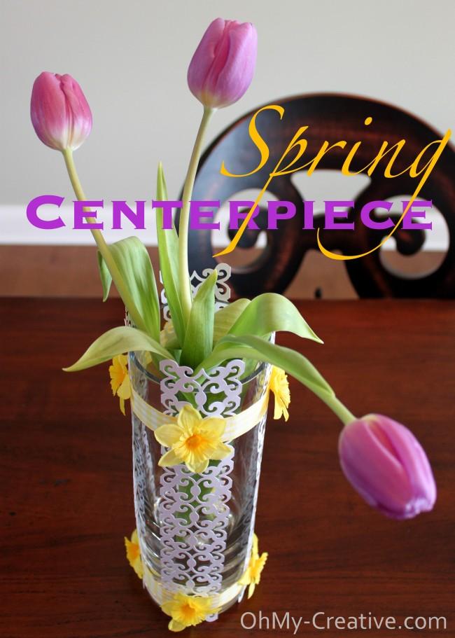 scrapbook paper spring centerpiece   OhMy-Creative.com