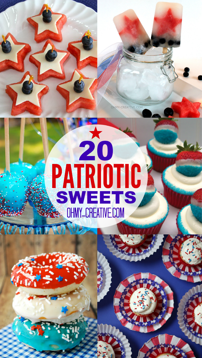Show your Red, White and Blue with these 20 Awesome Patriotic Sweet & Treats! Perfect for Memorial day, Fourth of July and Labor Day! | OHMY-CREATIVE.COM