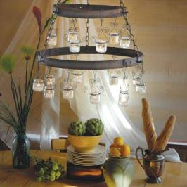 recycled baby food jars and twisted wire chandelier