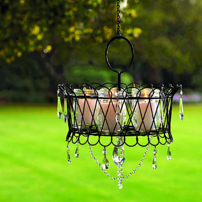 Diy chandeliers and outdoor lighting oh my creative wire basket outdoor crystal chandelier mozeypictures Gallery