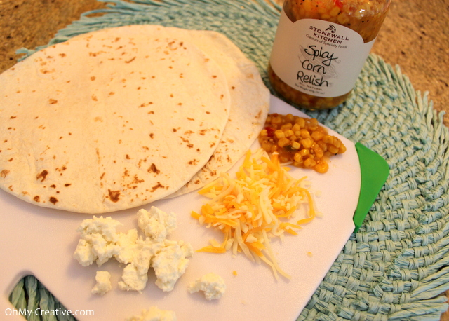 How to make a cheese and chicken quesadilla using spicy corn relish or corn salsa
