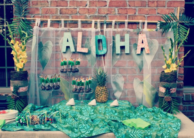 A Pretty Luau Party using soft colors in pink, turquoise and gold creating a vintage feel to this popular summer party theme. Oh what fun the guests had at this delightful summer party!   OHMY-CREATIVE.COM