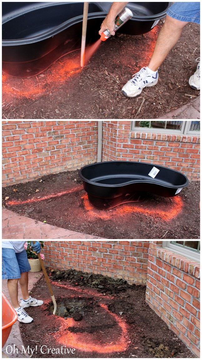 Diy backyard pond landscape water feature oh my creative Diy wall water feature
