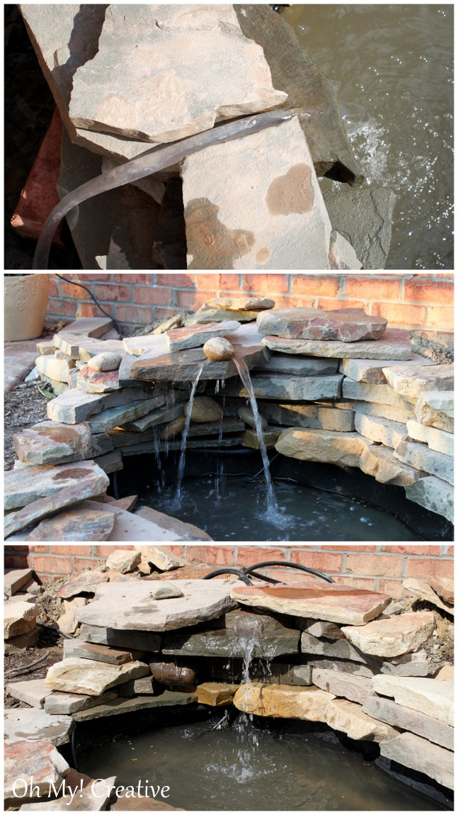 How to build a beautiful back yard pond and water feature cheaply!   OHMY-CREATIVE.COM   How to build a pond waterfall step by step #Pond #Fountain #Garden