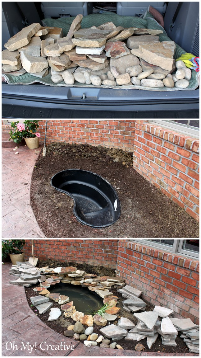 Diy backyard pond landscape water feature ohmy for Diy patio pond