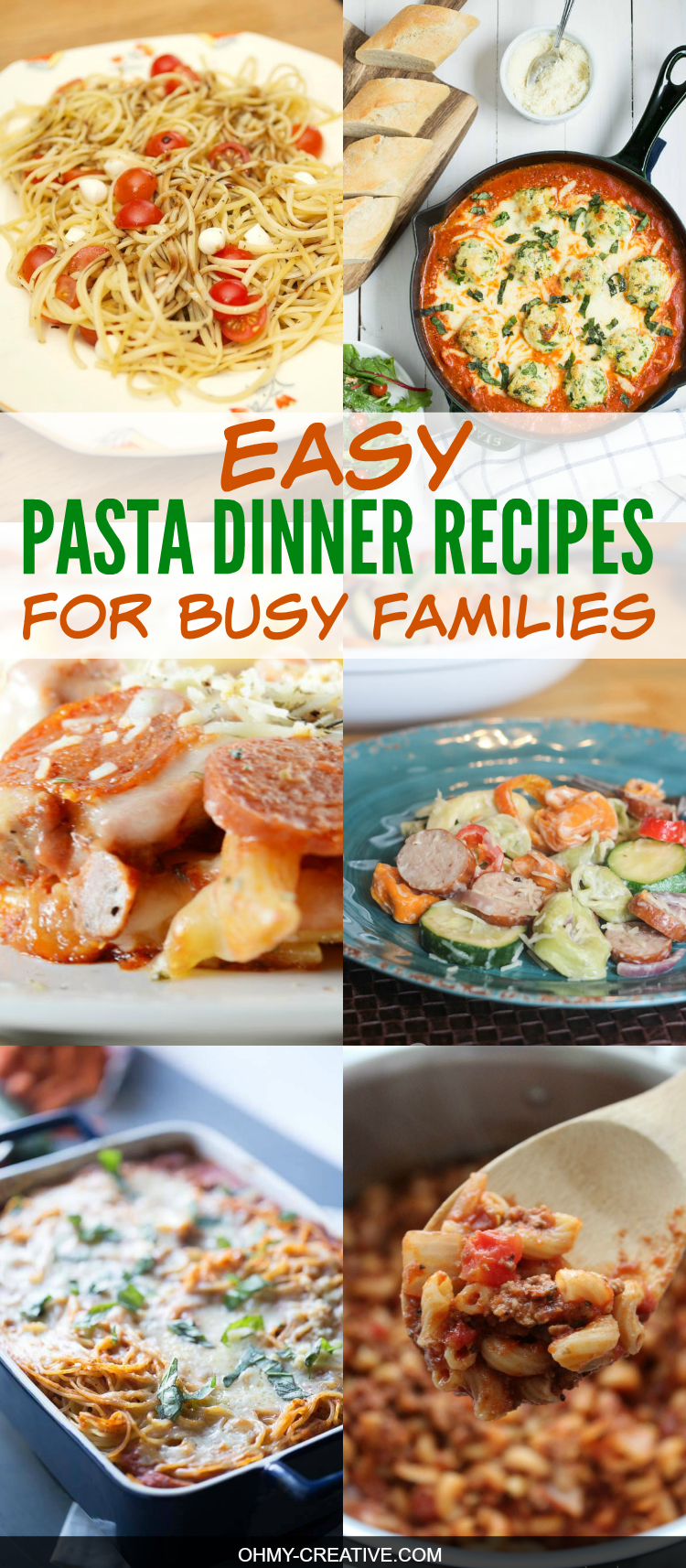 """""""What to make for dinner?"""" is the question of the day! Especially when life is crazy busy every day! That's why I love these Easy Pasta Dinner Recipes - a one pan easy family dinner - yummy too! OHMY-CREATIVE.COM"""