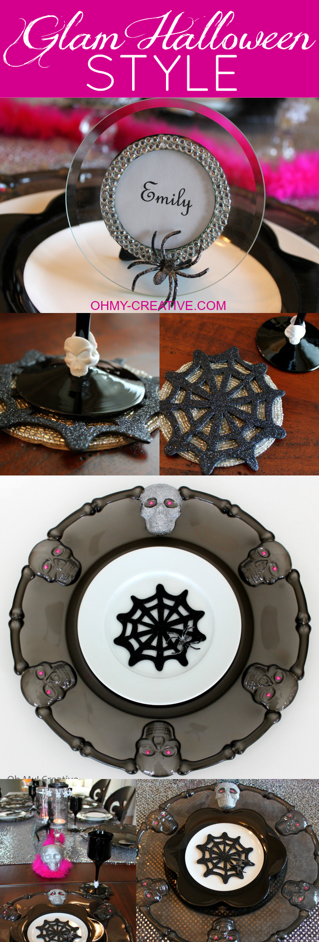 Simply crafty styling makes this Glam Halloween Table Setting a breeze! A few craft store finds along with these DIY Charger Plates made from dollar store platters, and you are all set for a glamorous Halloween bash! | OHMY-CREATIVE.COM