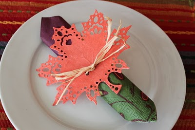 Autumn leaf Thanksgiving napkin ring