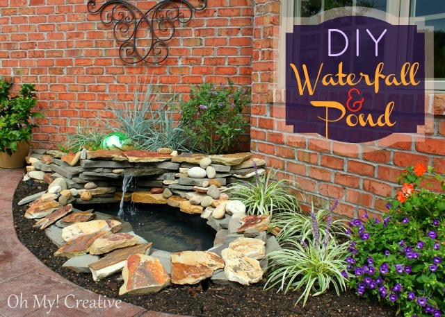 Diy backyard pond landscape water feature oh my creative for Build your own waterfall pond