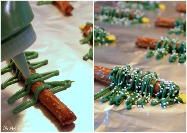 Chocolate pretzel christmas trees