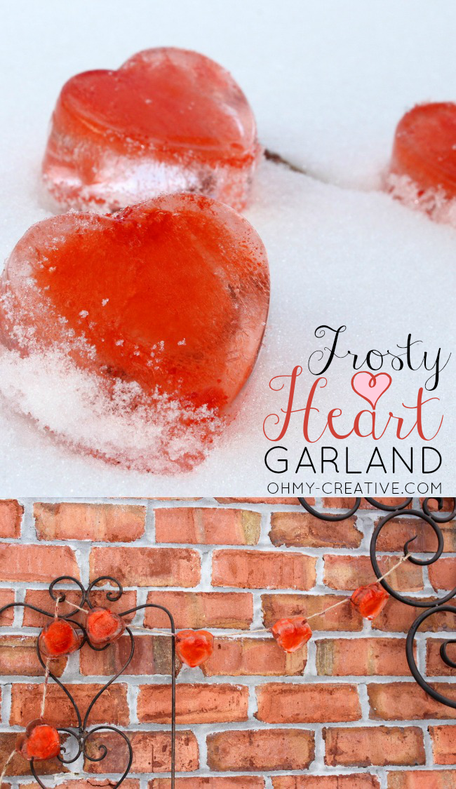Brighten a cold winter day by making this Frosty Valentine Heart Garland  |  OHMY-CREATIVE.COM