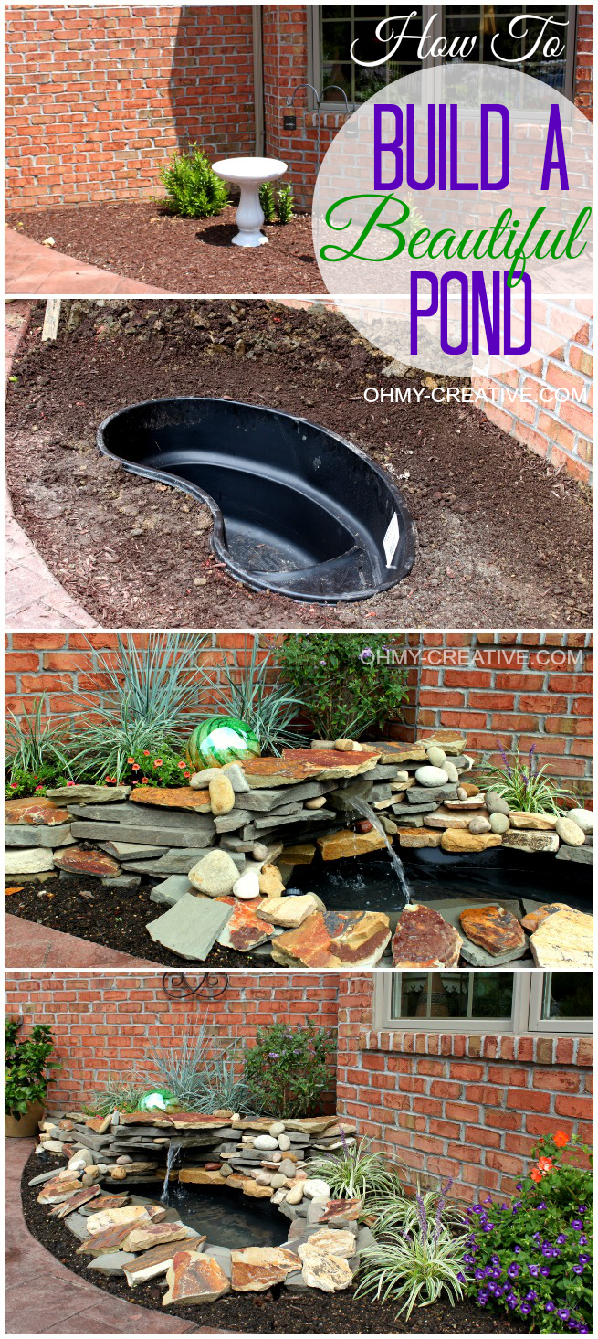 Diy backyard pond landscape water feature oh my creative - How to build an outdoor fountain with rocks ...