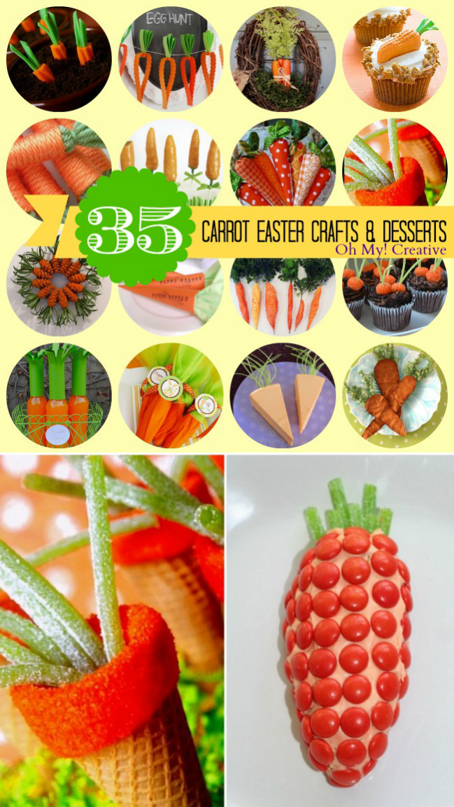 35 Easter Carrot Crafts and Desserts! Including tasty desserts to crafts for the kids or to decorate the home!  |  OHMY-CREATIVE.COM