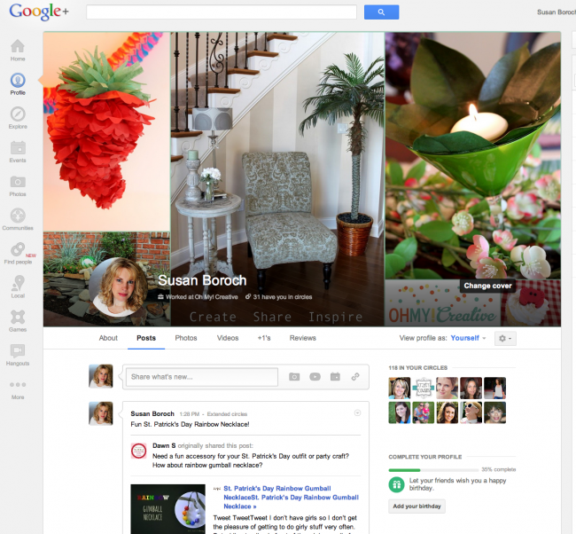 Follow Oh My! Creative On My New Google+ Page