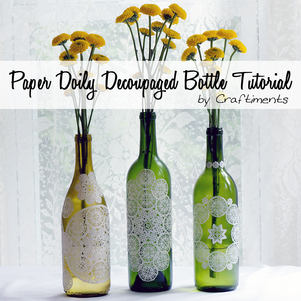Paper doily decoupage bottle tutorial