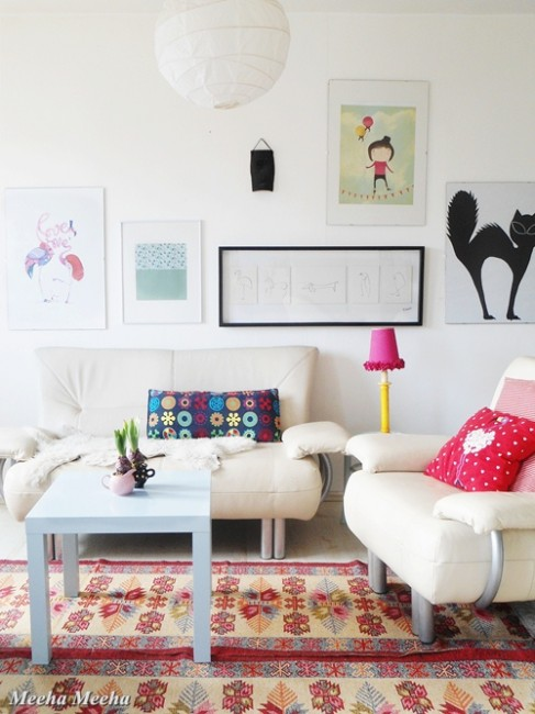 colorful spring living room