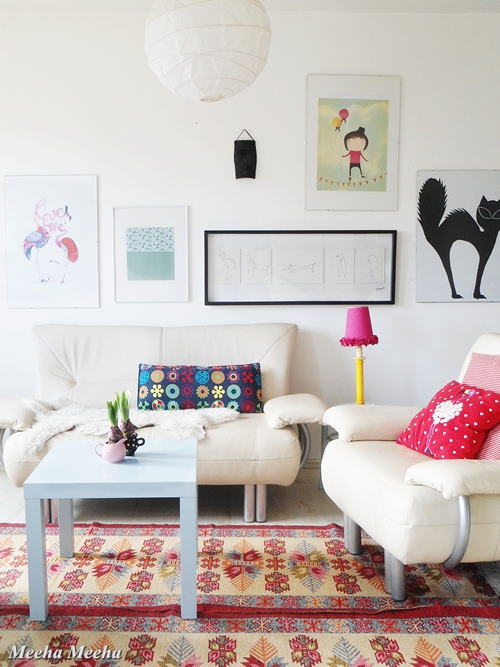 Colorful spring living room oh my creative for Colorful whimsical living room