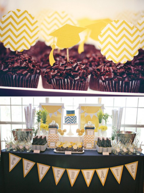 Blue and Yellow chevron graduation party