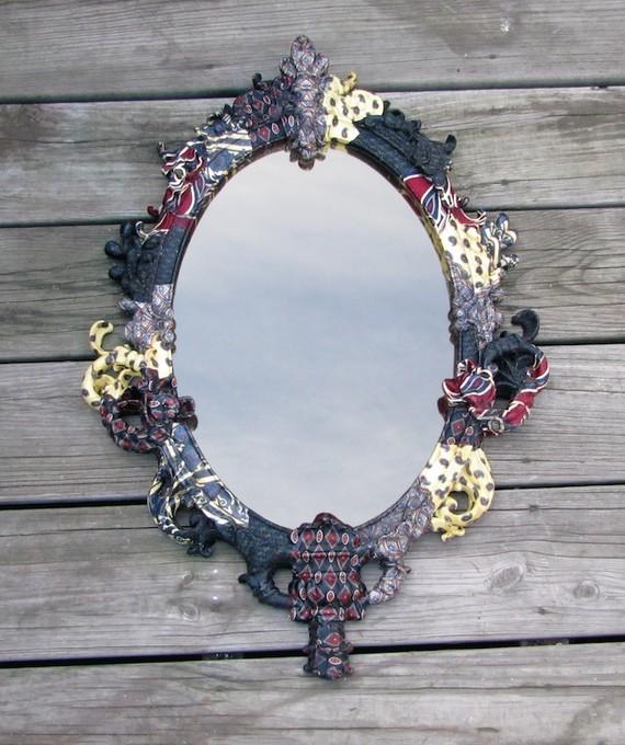 Decoupage necktie mirror frame