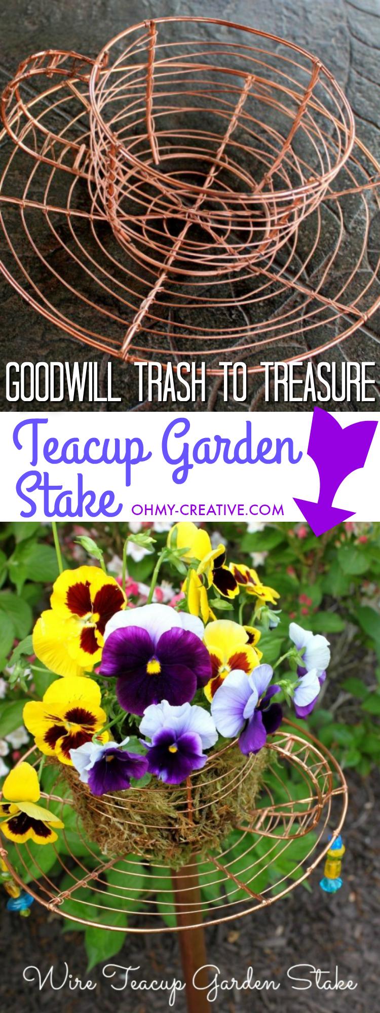 diy garden decor - teacup garden stake - oh my creative