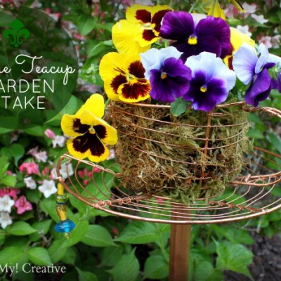 Wire Teacup Garden Stake