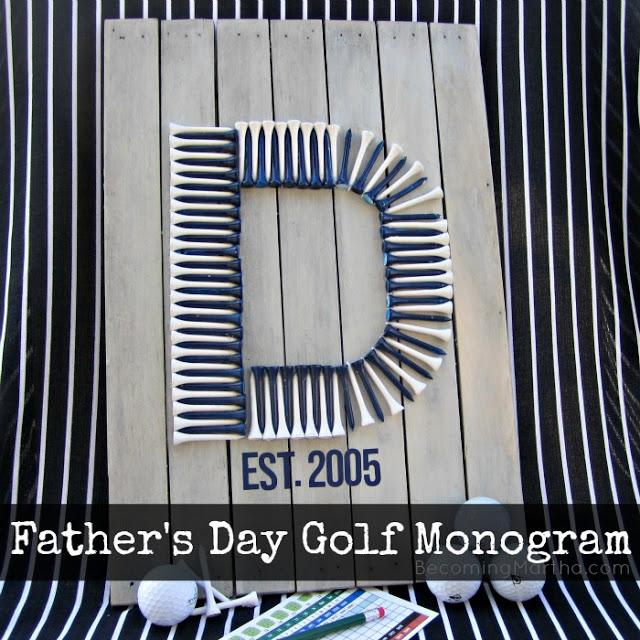 father's day golf tee monogram pallet art