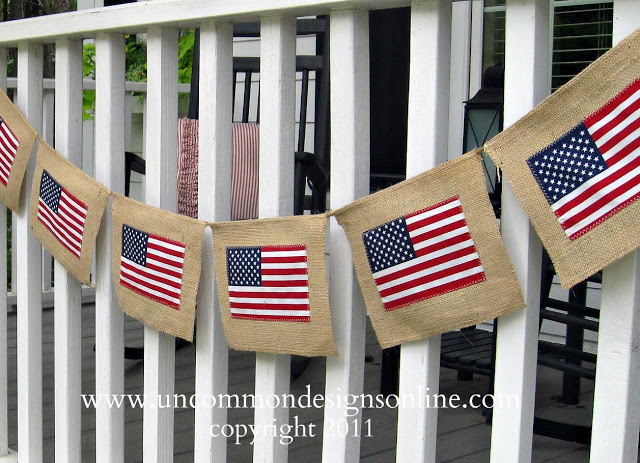 Banner made with flags and burlap