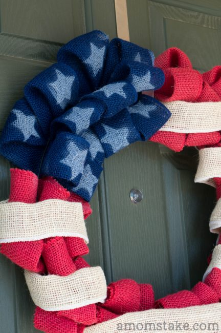 Red, White, and Blue Burlap wreath handing on door