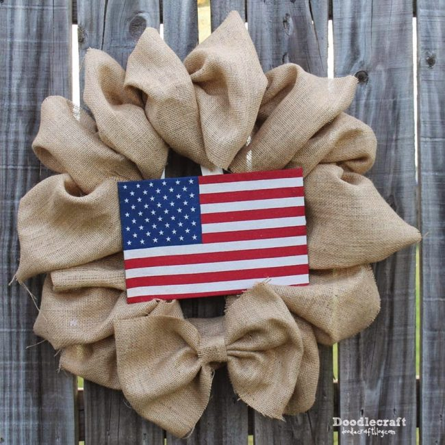 Burlap wreath with a flag in the middle