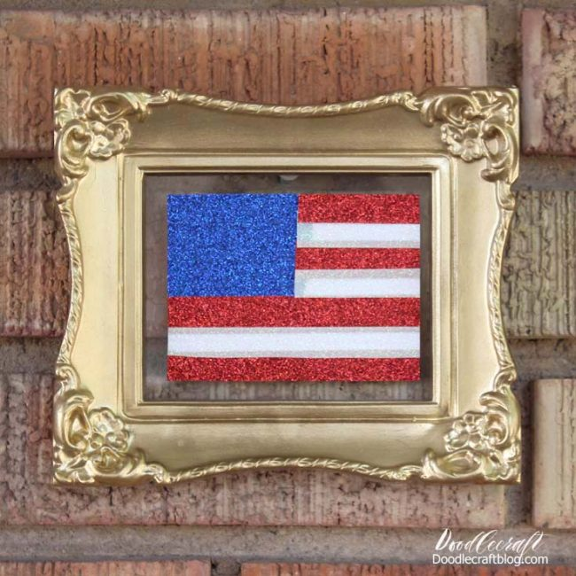 Flag inside a golden picture frame
