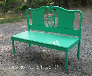 Recycled headboard into a bench